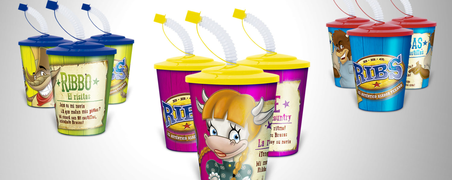 Ribs packaging vaso cantimplora merchandising